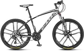 24 Speed Mens Outroad Mountain Bike All-Terrain 26 Inch Wheel Steel Frame Mechanical Disc Brakes Suspension Fork Anti-Slip Bikes,White