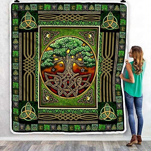 Irish Tree of Life Quilt, Fleece Blanket, Bedding Set The Celtic Knot Tree of Life Gifts from Mom, Dad, Son, Daughter, Grandma, Grandpa for Winter Bed Throw