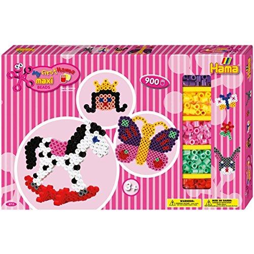 Hama Perlen 8713 Geschenkbox mit ca. 900 bunten Maxi Bügelperlen mit Durchmesser 10 mm, Motivvorlagen und 2 Stiftplatten, inkl. Bügelpapier, kreativer Bastelspaß für Groß und Klein