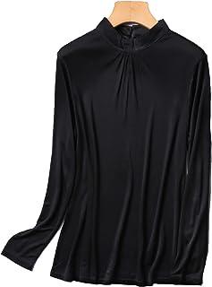 シルク ハイネック Tシャツ レディース 長袖 ギャザー入り バックシャン 6色 シルク100% silk100% シンプル 一枚着用 重ね着 シンプル オシャレ 肌に優しい 敏感肌 低刺激 快適 保湿