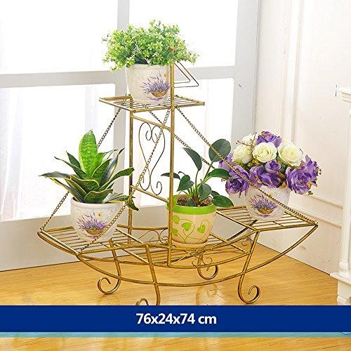 XIAOLIN- fer racks de fleurs atterrissage formule Des couches multiples Rack pot de fleur style européen mode Modèles racks de fleurs salle de séjour balcon Intérieur et extérieur étagère Fleur --Cadre de finition de fleurs ( Couleur : 3 , taille : 76*24*74cm )