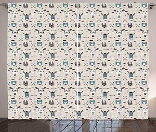 ABAKUHAUS Cornamenta Cortinas, Infantil Reno Jefes Arte, Sala de Estar Dormitorio Cortinas Ventana Set de Dos Paños, 280 x 225 cm, Cáscara de Huevo Trullo Gris