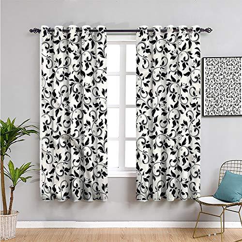 Pcglvie Cortina de aislamiento térmico oscurecida para habitación de hoja, cortinas de 182,88 cm de largo, patrón de desplazamiento monocromático, cortina de baño de 182,88 cm de ancho x 182,88 cm