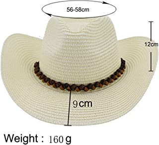 Fashion Hats, Caps,Elegant Hats, Natural Caps Western Cowboy Hat Outdoor Beach Hat Visor Women Big Sun Hat Leather Woven Rope Fedora Hat Straw Hat (Color : Khaki, Size : 56-58CM)