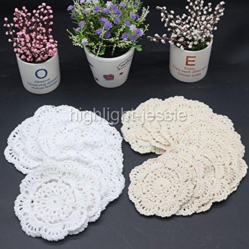 EMOTREE 24x Häkeldeckchen Spitzendeckchen Tischdecke Becher Deckchen Handarbeit (je Farbe 12 Stücke)