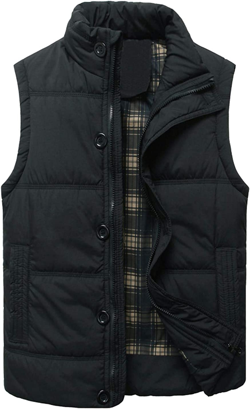 HaoMay Men's Outdoor Stand Collar Cotton-Padded Vest Casual Outwear Jacket