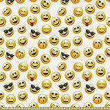 ABAKUHAUS Emoji Stoff als Meterware, Smiley Faces Gefühle,