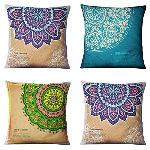 JOVEGSRVA Juego de 4 fundas de almohada decorativas con diseño de mandala verde de 45 cm x 45 cm, para sala de estar, sofá cama, fundas de almohada