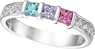 NANA Princess w/side Mothers rings 1 to 6 Simulated Birthstones-Silver or 10k White, Yellow or Rose Gold