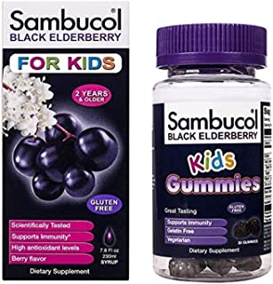 Sambucol Black Elderberry Syrup for Kids, 7.8 Ounce Bottle & Gummies 30 Count Bundle, 2 Count