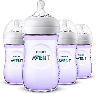 Philips Avent Natural Baby Bottle, Purple, 9oz, 4pk, SCF013/43