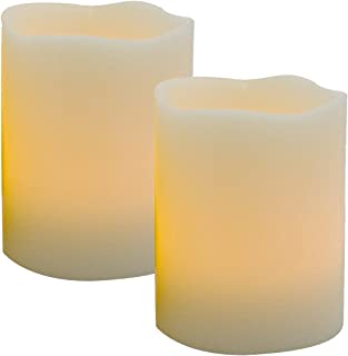 """CANDLE IDEA Can-Be-Blown-Out Magic LED Retro Blow Candles Lamp, Novelty Flickering Real Wax Flameless Candles, Battery Operated Candles for Romantic Happy Birthday Party, 3""""x4"""",Set of 2"""