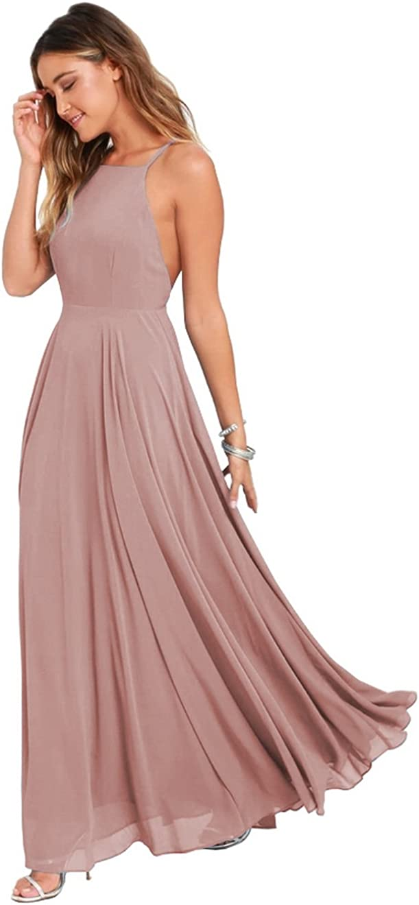 Women's Halter Chiffon Long Bridesmaid Dress Backless Formal Evening Party Gown Size 6 Dusty Rose