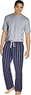 Hanes Mens Sleep Set with Woven Knit Pants and Cotton T-Shirt