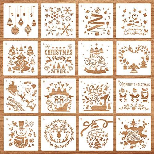 Schablonen Weihnachten, 16 Stück Zeichenschablonen, Schablone Weihnachtsmotive wiederverwendbar, Malschablonen aus Kunststoff, DIY Geschenkkarten, Geschenke Weihnachten Kinder