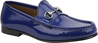 a39f1e67d Gucci Brushed Shiny Blue Patent Leather with Horsebit Detail Loafer 387598  4236