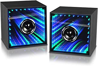 Computer Speaker, Bluetooth Laptop Speakers with Colors LED Light Dancing Function Micro USB Power Charge Dual Channel Stereo Widely Use for iPone X,Andriod,Pad, PC and Tablets