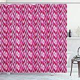 ABAKUHAUS Fuchsie Duschvorhang, Geometrische Vertikal Kreise, Personenspezifisch Druck inkl.12 Haken Farbfest Dekorative mit Klaren Farben, 175x180 cm, Fuchsia-Pink