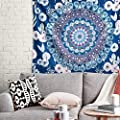 Bedsure Mandala Tapestry Wall Hanging for Bedroom Aesthetic, Blue Tapestry, Throw Size(50x60Inches)