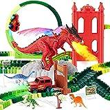Circuit Voiture Enfant Electrique Dinausaures Jouet, Jouets de Piste de Dinosaure, Pistes de Trains Flexibles avec 2 camions de Course, pour Enfants Garçons Filles 3 4 5 6 Ans