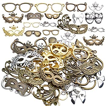 Mask Pendant Jewelry 100g About 25-50pcs  Women Face Masks Pendant Charms Alloy Antique Mask Eyeglasses Charms Accessory for Halloween Parties Ball Dance Cosplay Jewelry DIY