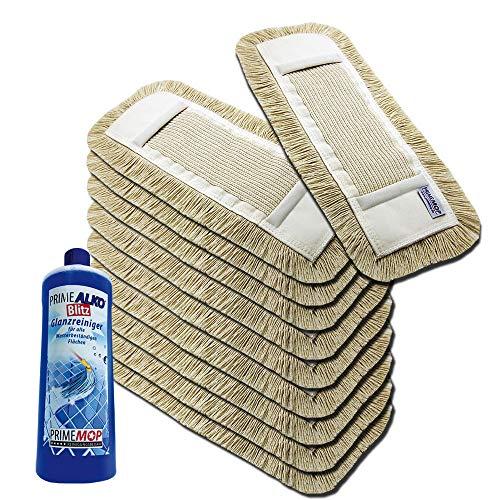 Wischsystem Wischbezug 40 cm aus Baumwolle 10 x und Gratis Reiniger
