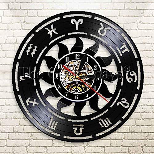 JXWH Sternzeichen Wandkunst Wanduhr einfache Moderne geometrische Schallplatte Uhr astrologische Dekoration Uhr Retro