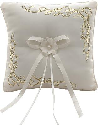 Amazon.com: NUOLUX - Cojín para anillo de boda con lazos de ...