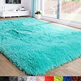 Teal Area Rug for Bedroom,4'X6',Fluffy Shag Rug for Living Room,Furry Carpet for Kids Room,Shaggy Throw Rug for Nursery Room,Fuzzy Plush Rug,Turquoise Carpet,Rectangle,Cute Room Decor for Baby