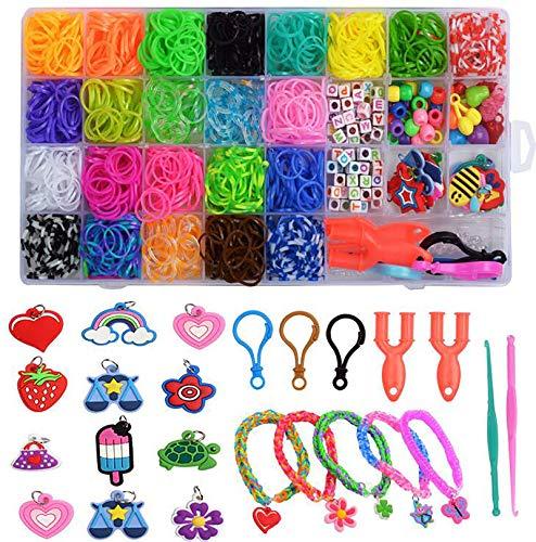 Juego de cintas para hacer manualidades Loom, multicolor, caja para iniciación, pulsera, collar, herramienta para tejer, juguetes para niños, 32 colores