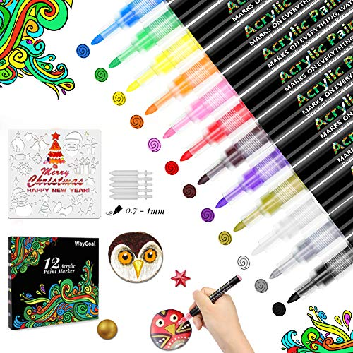 WayGoal Acrylstifte für Steine bemalen, 12 Acrylfarben Marker Stifte Set Wasserfest 0,7mm Feine Spitze für Glas Holz Schwarzes Papier Kunststoff Kleidung DIY Fotoalbum bemalen