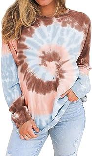 APHT Mujer Sudadera Tie Dye Estampado Hoodie Manga Larga Casual Sudadera Casual Pullover Tops Moda para Primavera Otoño e ...