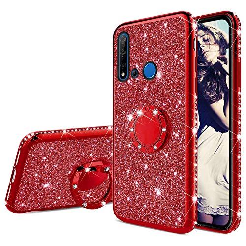 Misstars Glitzer Hülle für Huawei P20 Lite 2019 Rot, Bling Strass Diamant Weiche TPU Silikon Handyhülle Anti-Rutsch Kratzfest Schutzhülle mit 360 Grad Ring Ständer für Huawei P20 Lite 2019
