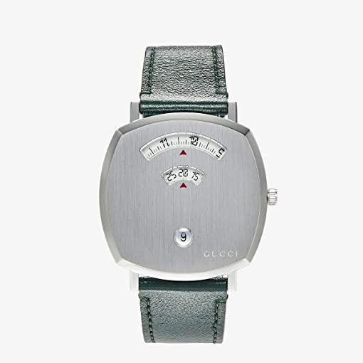 Silver Dial/Green Leather Strap