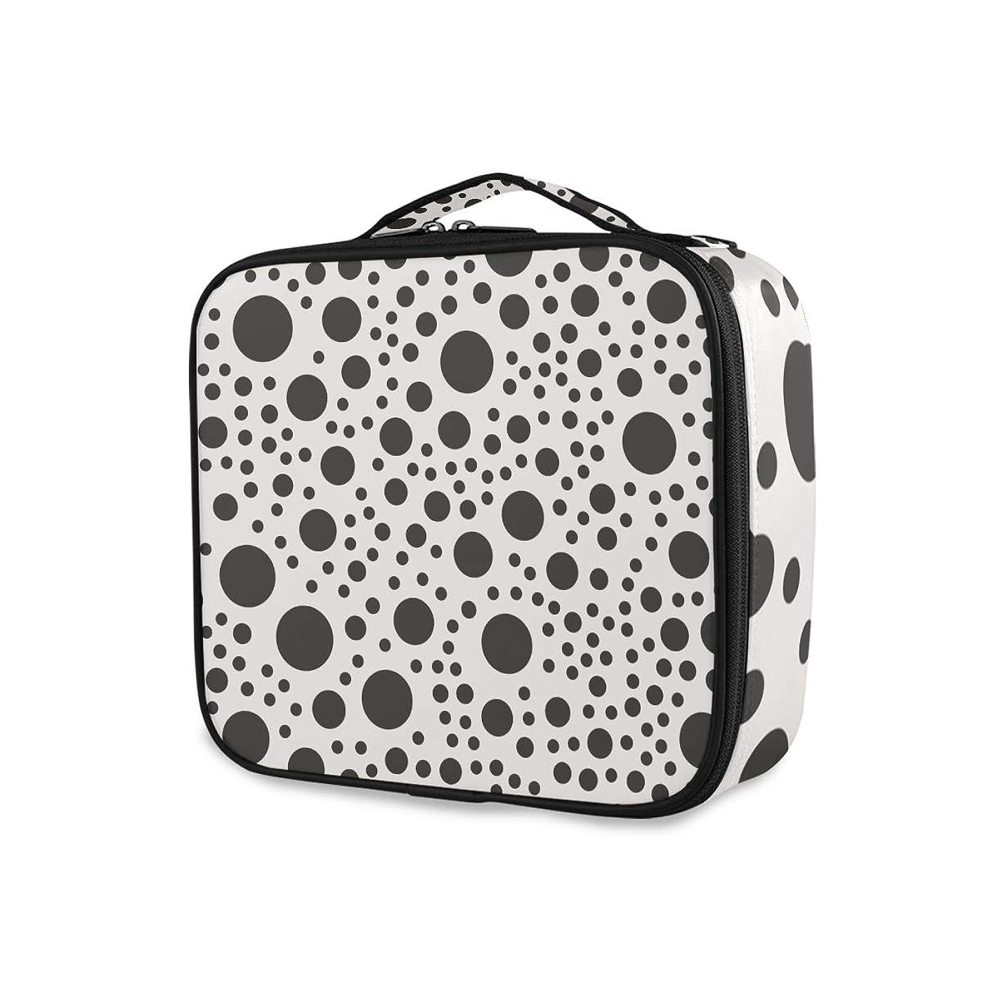 モルヒネ予想外尊敬メイクボックス 水玉 黒白 かわいい 大容量 収納 仕切り付き 収納ケース 機能性 小物入れ 旅行 通勤 化粧道具 高品質 メイク収納 整理 持ち運び