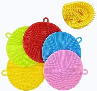 Sponsored Ad - AOLANS Silicone Dish Sponge Washing Brush Silicone Scrubber 5 Pack sponges Kitchen Vegetable Brush Househol...