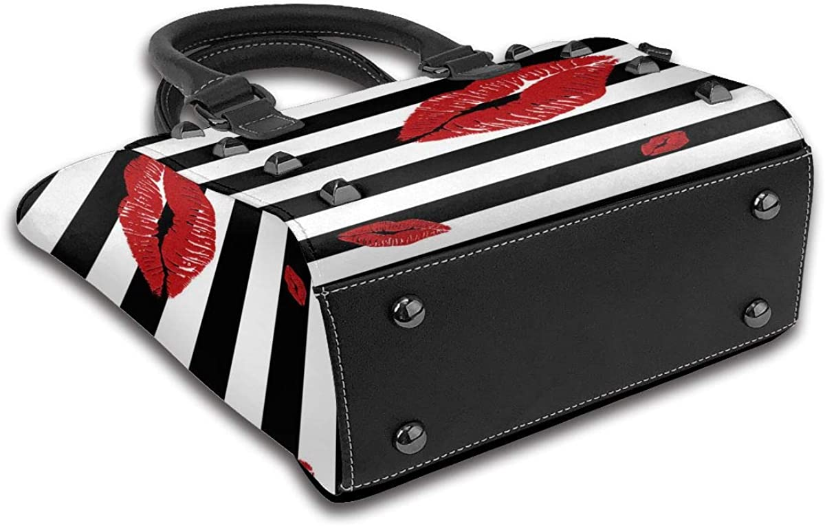 Lady Sheep Sac à bandoulière en cuir véritable pour femme Lèvres Rouges Pailletées Sur Rayures Noires et Blanches