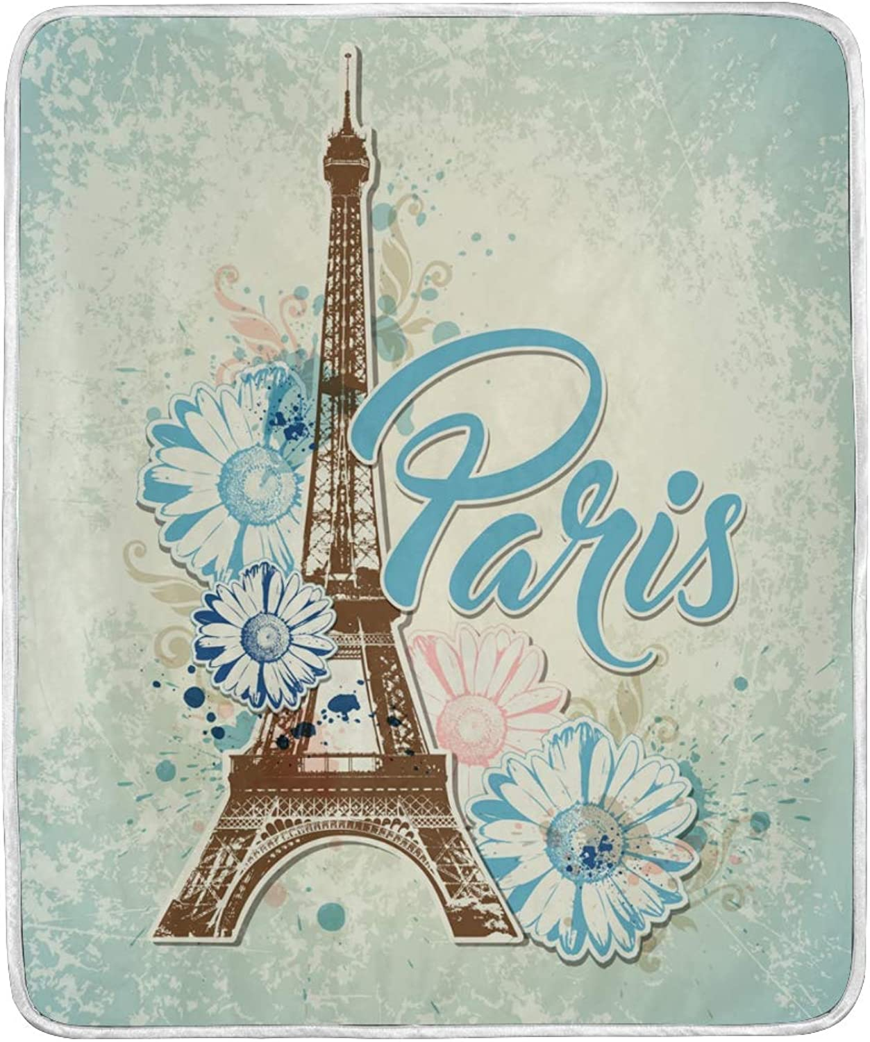 Vintage Paris Eiffel Tower Floral Flowers Throw Blanket Soft Nap Couch Bed Blankets Kid Boy Girl Women Men 50x60 inch