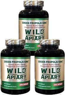 Buy 3 get 1 Free - Wild Apiary Brazilian Green Bee Propolis King Capsule-Non Alcoholic, Wax Free, Sugar Free, 120 Vegetari...