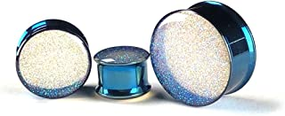 Mystic Metals Body Jewelry Pair of Pearl Blue Glitter Plugs - Sold as a Pair