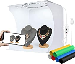 YOTTO Folding Photo Studio Light Box Kit, 12.2 x 12.2inch Portable Photography Shooting Booth Table Top Light Tent Kit with 80 LED Lights (10 Levels Dimmable 3 Colors) and 6 Colors Backdrops