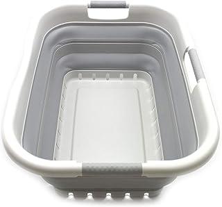 Sammart Panier à linge pliable en plastique 3 poignées – Boîte de rangement pliable et rétractable – Cuve de nettoyage por...