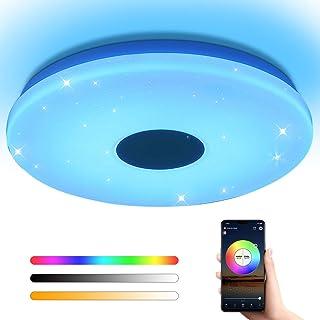 OFFDARKS Flush Mount Smart Led Ceiling Light,Support WiFi Alexa Google Assistant, Adjustable Brightness 28W Ceiling Light,...