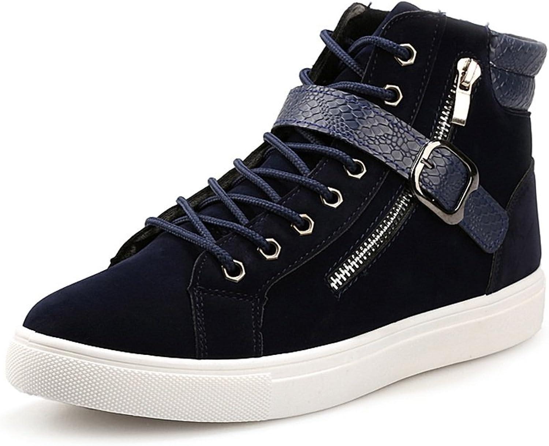 ZLQ Men's Flat Sport shoes Casual Lace Up&Belt Buckle High Top Sneaker Sport shoes