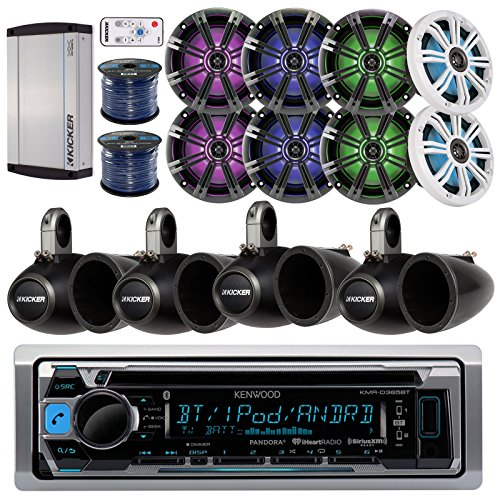 Kenwood KMRD365BT Marine CD Bluetooth Stereo Receiver Bundle Combo W/ 8X 6.5 195-Watt LED Coaxial Speaker with Remote Controller + 8X Empty Tower Enclosures + Amplifier + Enrock 100Ft Speaker Wire