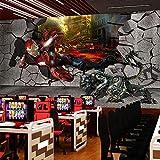 YIERLIFE 3D Tela no tejida murales autoadhesivos pared - Película Iron Hero - 3D Papel Pintado...