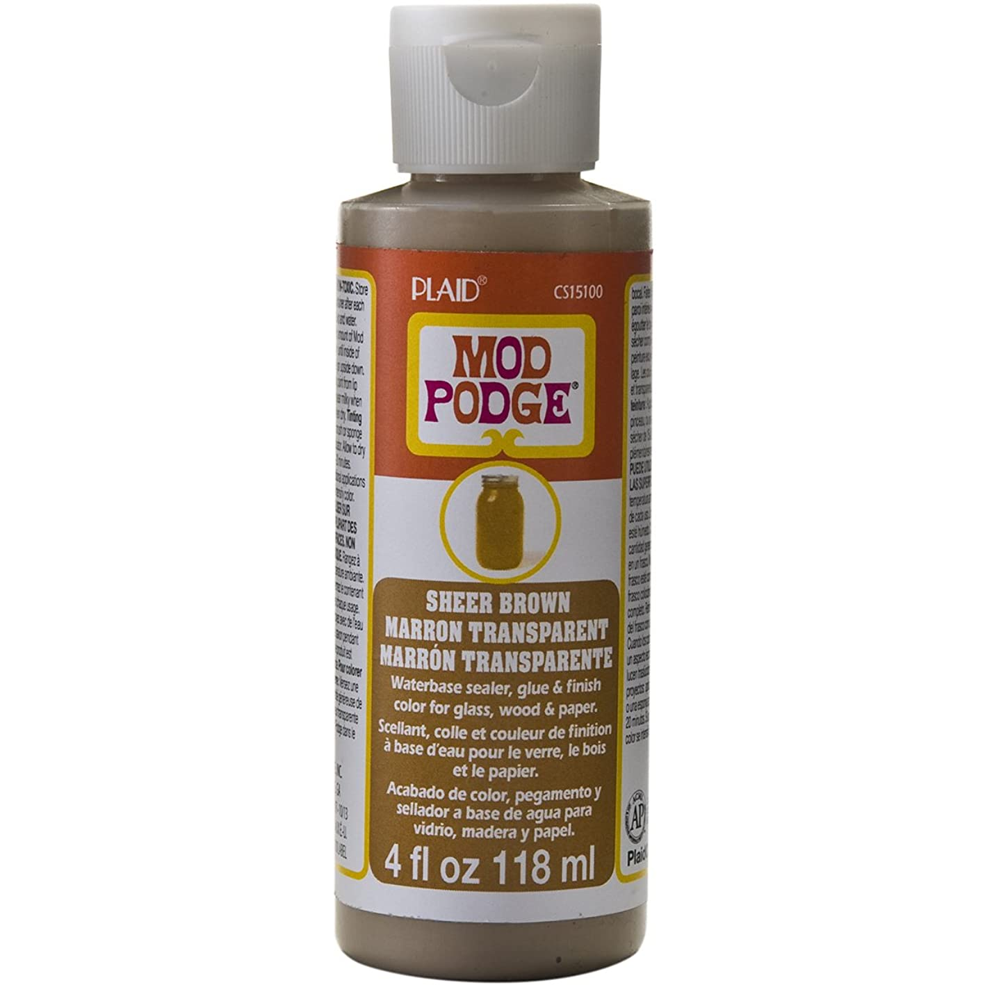 Mod Podge Waterbase Sealer, Glue and Finish Color in Assorted Colors (4-Ounce), CS15100 Sheer Brown lbedvtpwezj647
