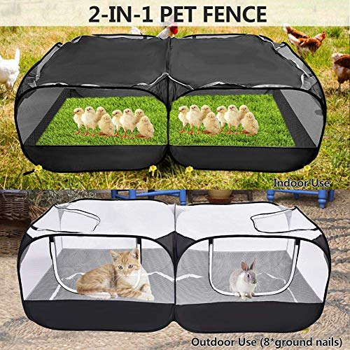 Bingoo Small Animal Playpen Foldable Tent Rabbit Cage Chicken Coop Indoor Outdoor Exercise Yard Fence Enclosure for Dog Hamster Cat Guinea Pig Ferret Gerbil Rat