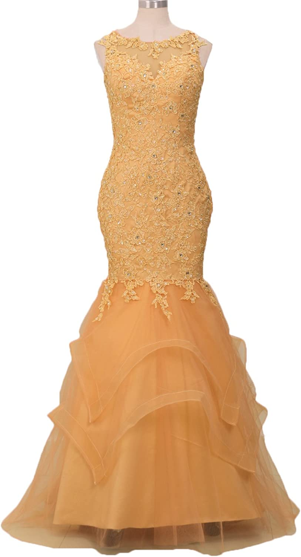 CIRCLEWLD Appliques Beaded Mermaid Prom Evening Dresses Weddings Women Plus Formal Gown P111