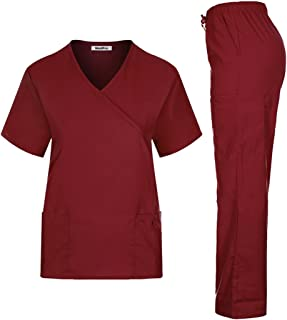MedPro Women's Solid Medical Scrub Set Mock Wrap Top and Cargo Pants  Wine M